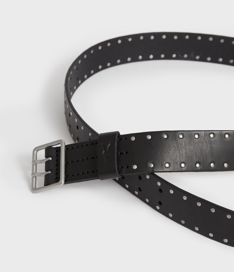 Men's Zephyr Stud Leather Belt (black) - Image 2