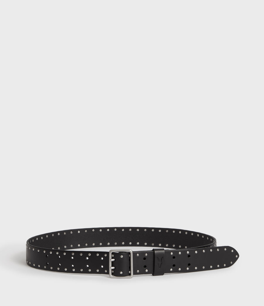 Men's Zephyr Stud Leather Belt (black) - Image 3