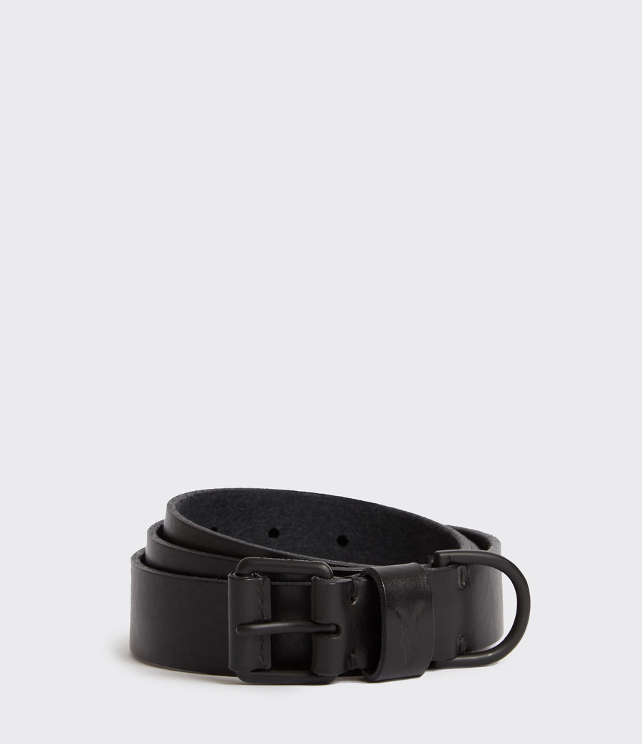 Men's Joel-D Leather Belt (black_dull_nickel) - Image 1