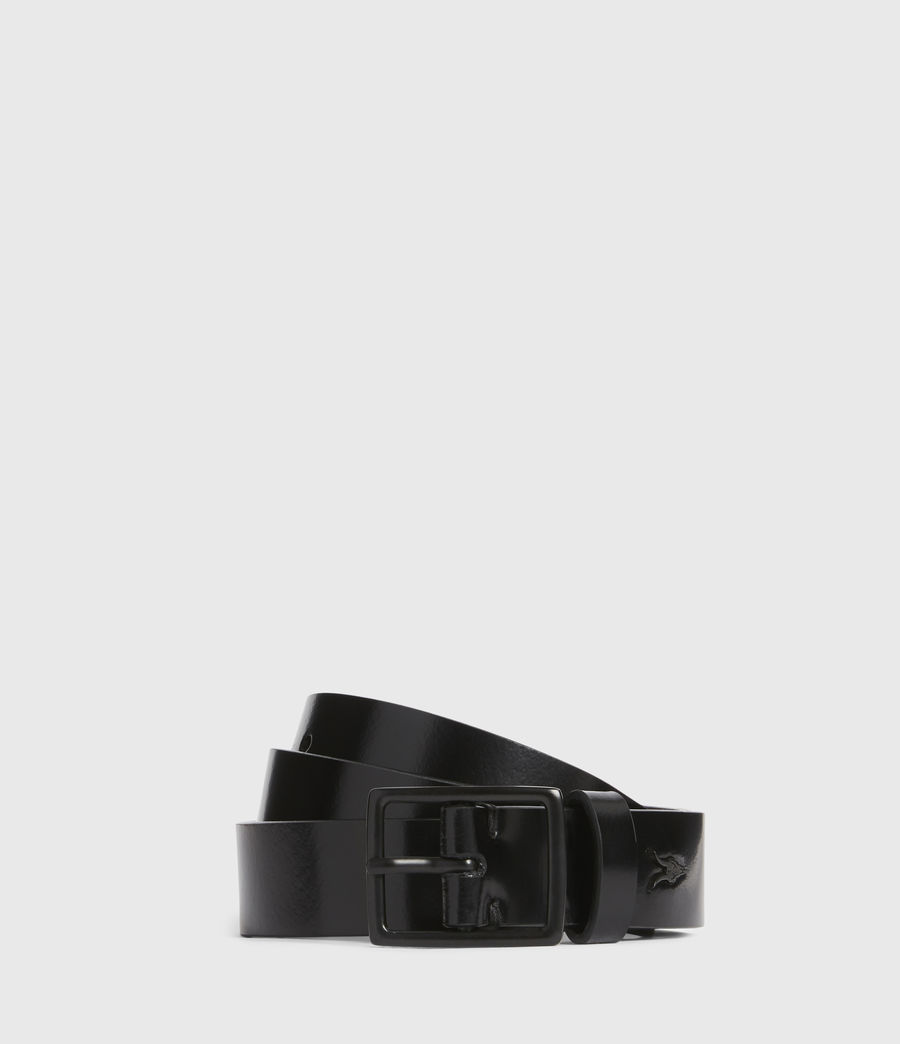 Mens Leo Skinny Leather Belt (black) - Image 1