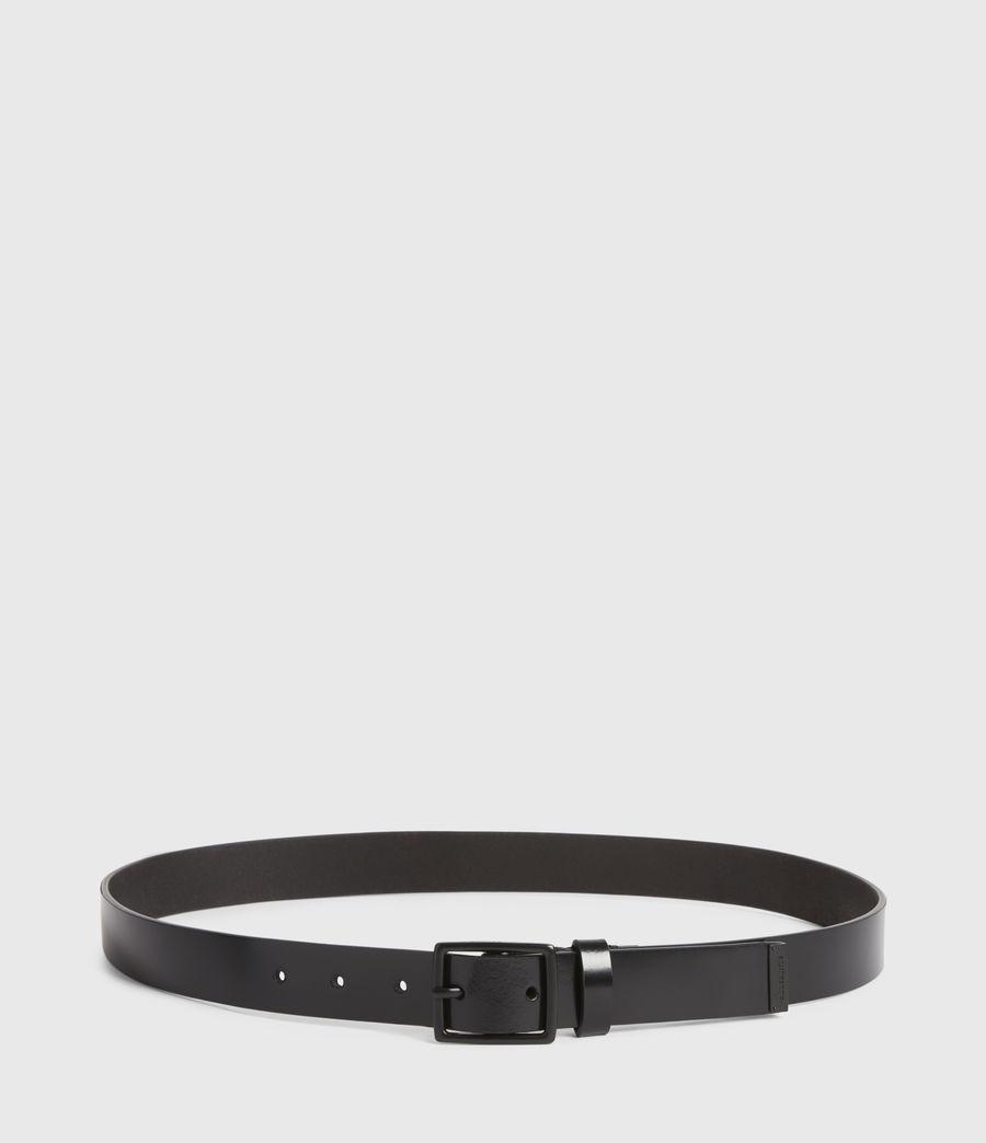 Mens Leo Skinny Leather Belt (black) - Image 4