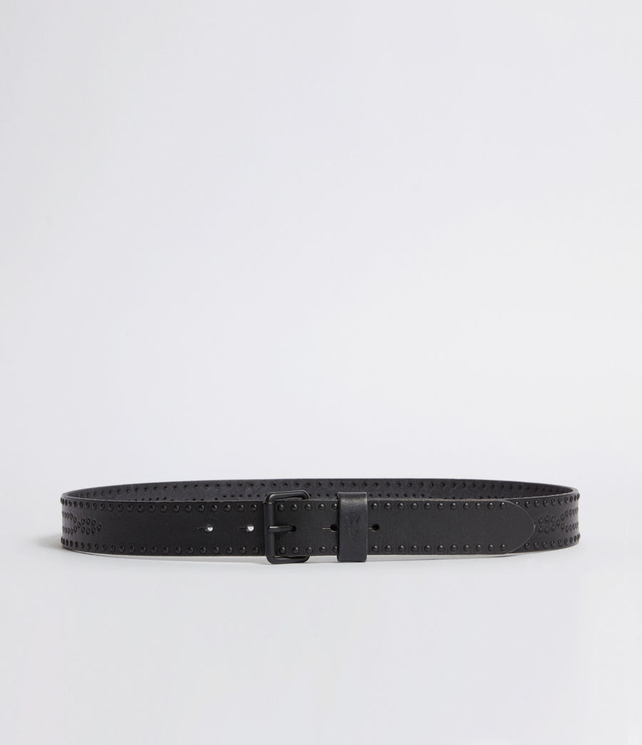 Mens Denver Leather Stud Belt (black) - Image 1