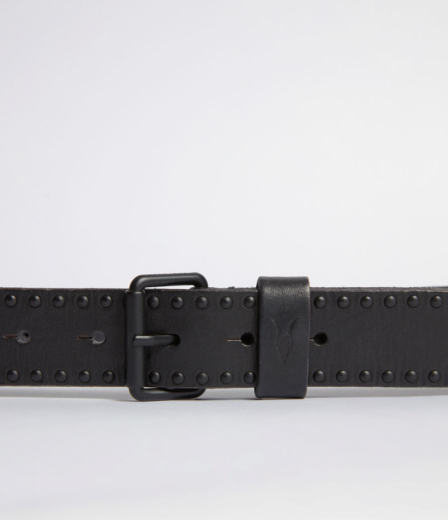 Mens Denver Leather Stud Belt (black) - Image 2