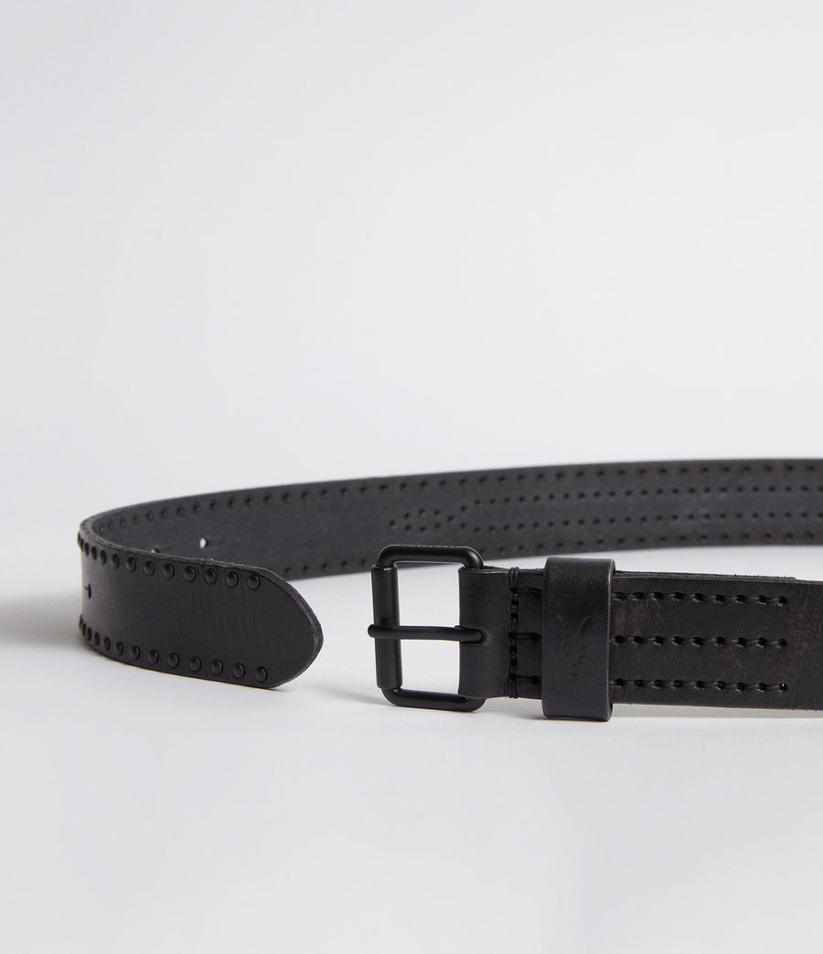 Mens Denver Leather Stud Belt (black) - Image 4