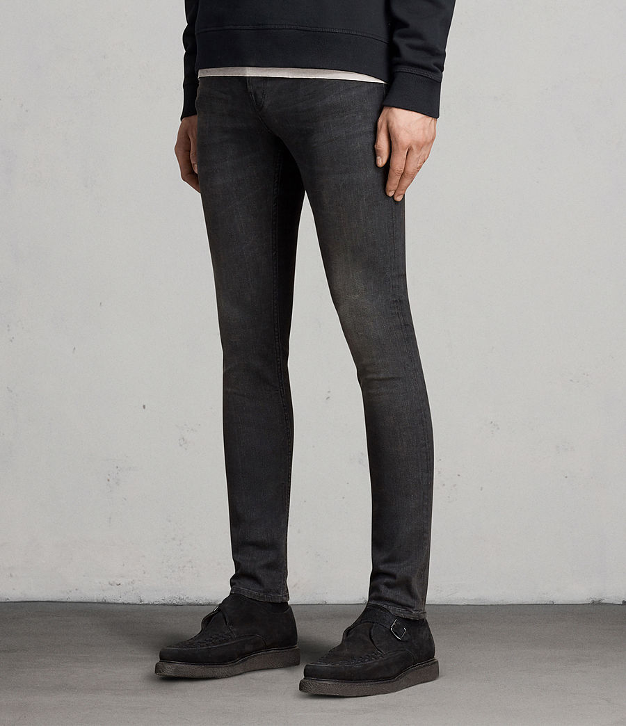 Men's Print Cigarette Skinny Jeans (black) - Image 3
