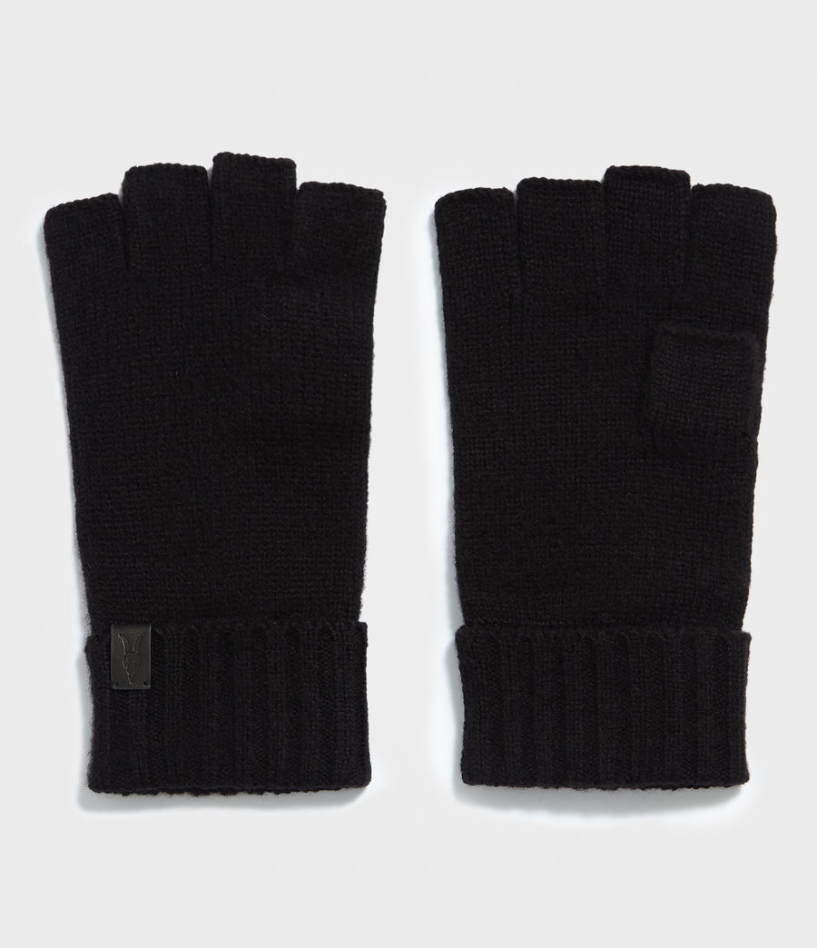 Hombres Cut Off Fingers Gloves (black) - Image 1