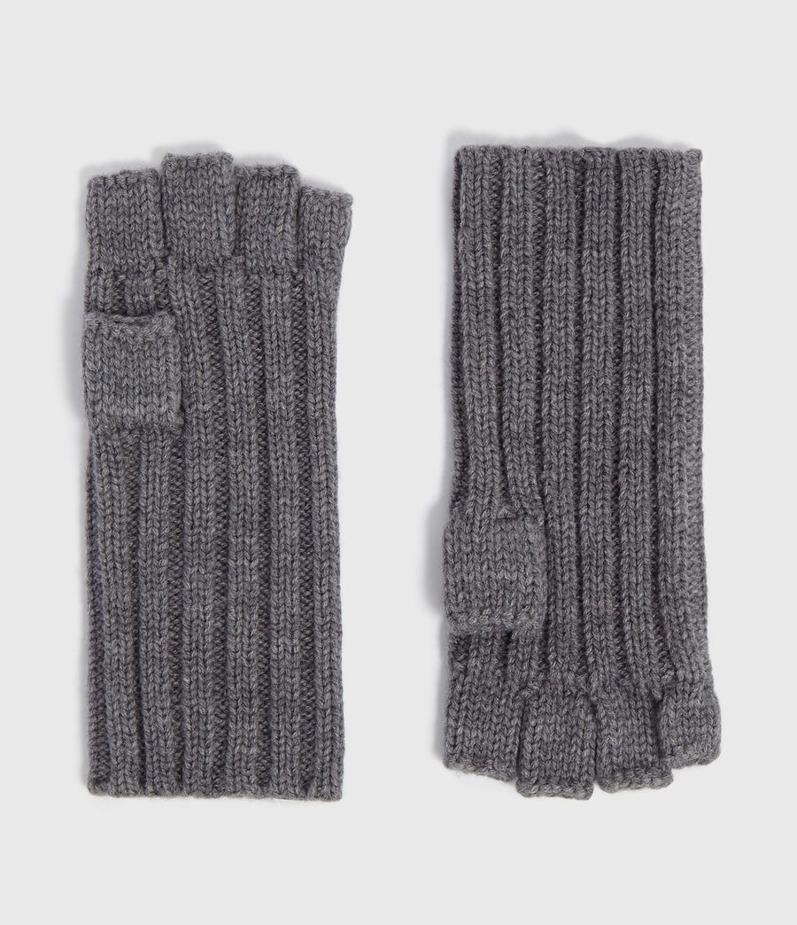 Men's Ribbed Cut Off Finger Wool Blend Gloves (grey_marl) - Image 1