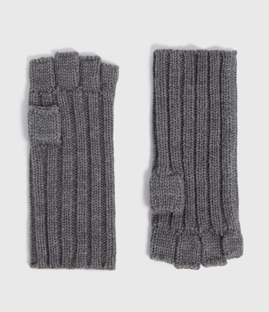 Mens Ribbed Cut Off Finger Gloves (grey_marl) - Image 1