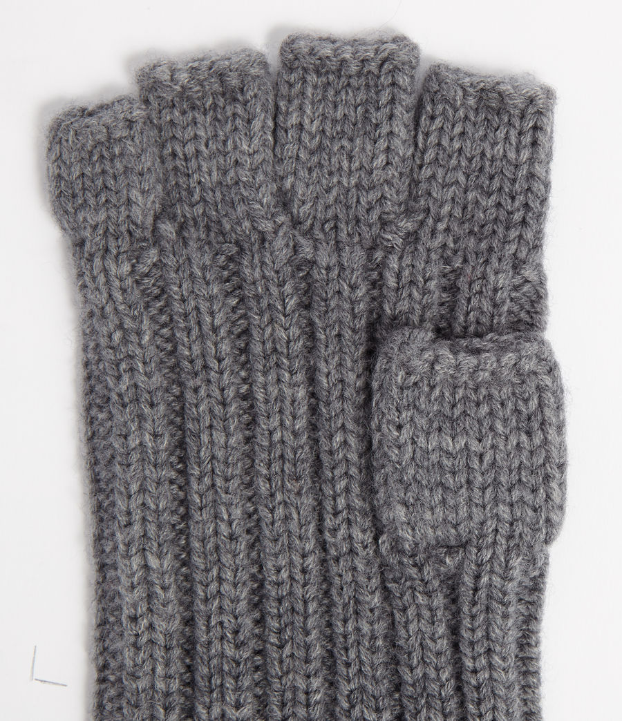 Men's Ribbed Cut Off Finger Wool Blend Gloves (grey_marl) - Image 3
