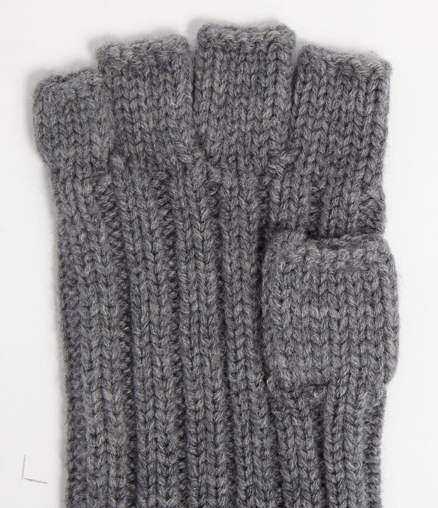 Mens Ribbed Cut Off Finger Gloves (grey_marl) - Image 3