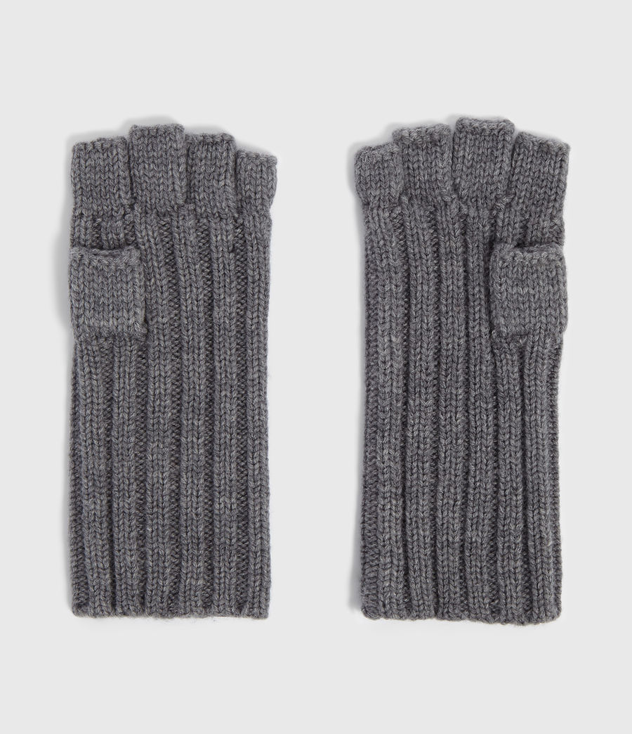 Men's Ribbed Cut Off Finger Wool Blend Gloves (grey_marl) - Image 4