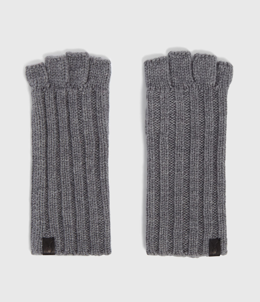 Men's Ribbed Cut Off Finger Wool Blend Gloves (grey_marl) - Image 5