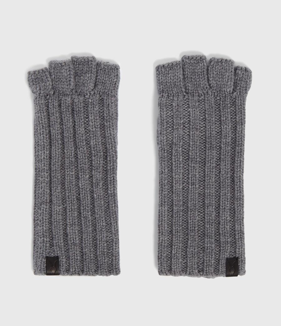 Mens Ribbed Cut Off Finger Gloves (grey_marl) - Image 5