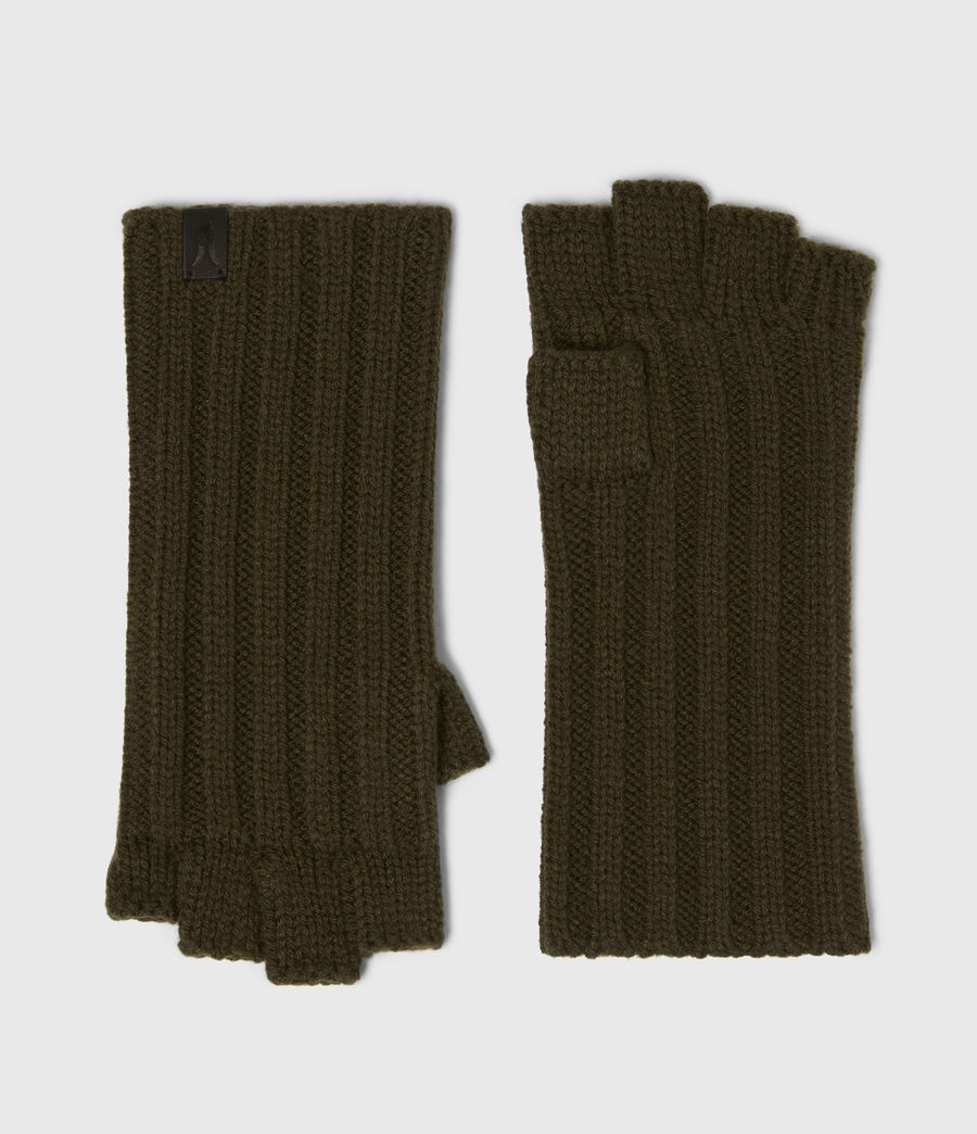 Mens Ribbed Cut Off Finger Wool Blend Gloves (army_green) - Image 1