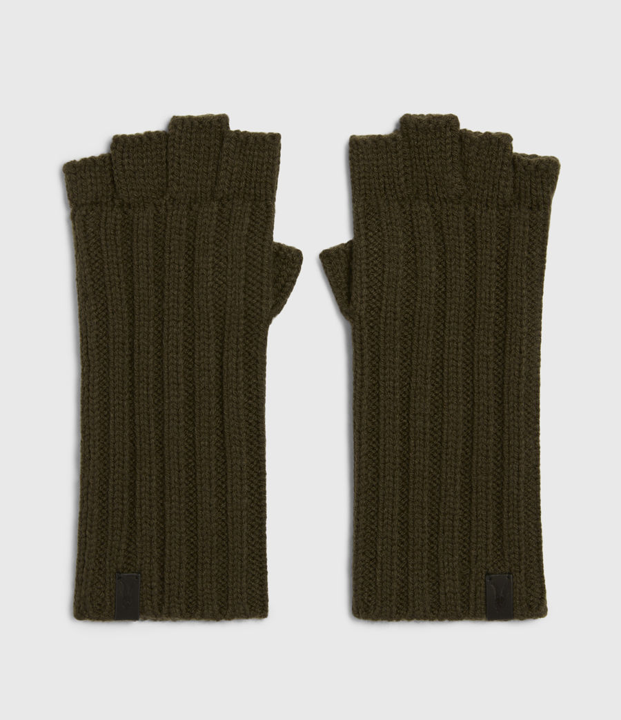 Mens Ribbed Cut Off Finger Wool Blend Gloves (army_green) - Image 3