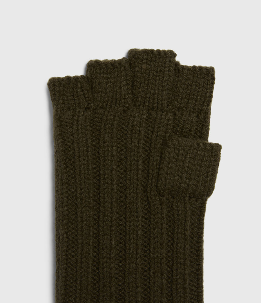 Mens Ribbed Cut Off Finger Wool Blend Gloves (army_green) - Image 4