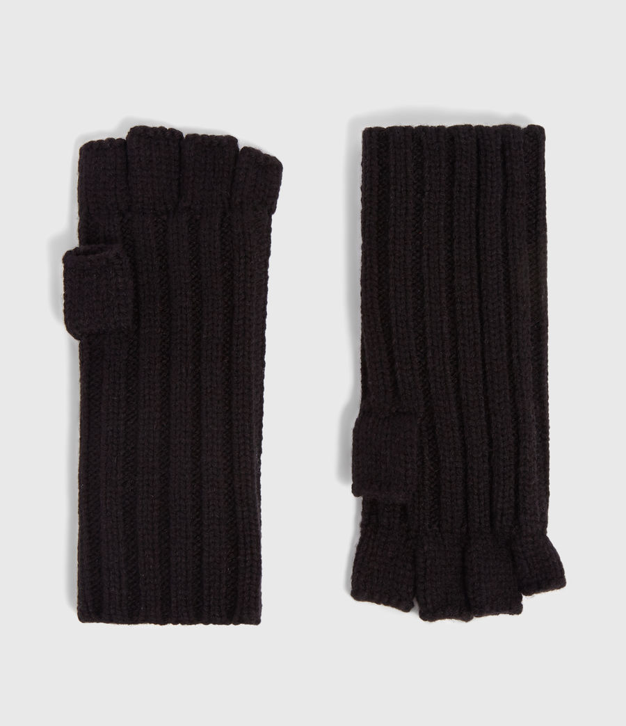 Mens Ribbed Cut Off Finger Gloves (black) - Image 1
