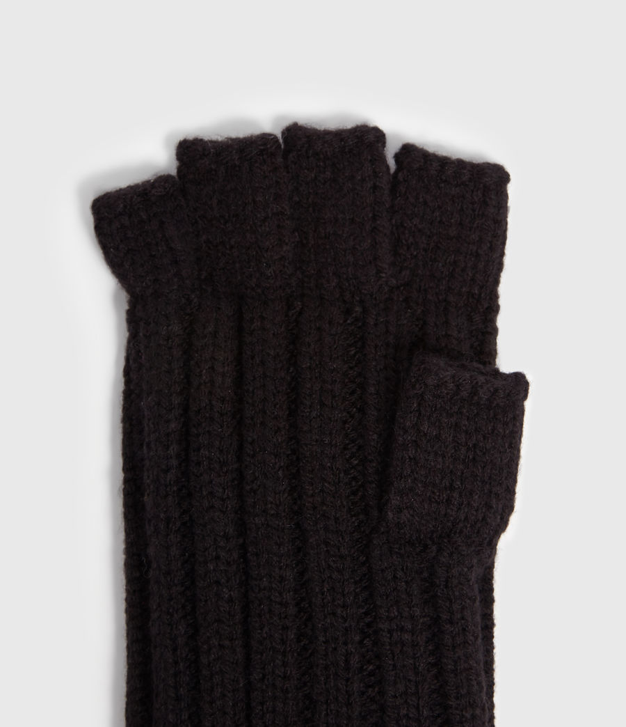 Mens Ribbed Cut Off Finger Gloves (black) - Image 3