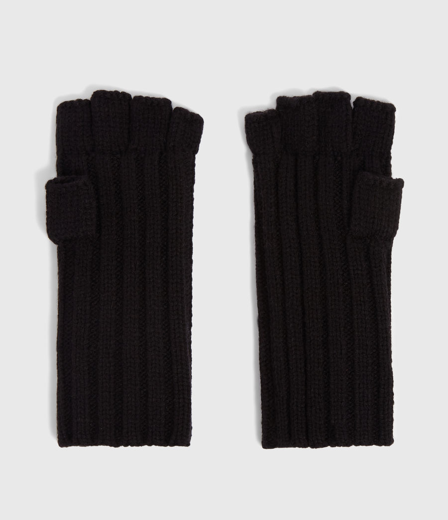 Mens Ribbed Cut Off Finger Gloves (black) - Image 4