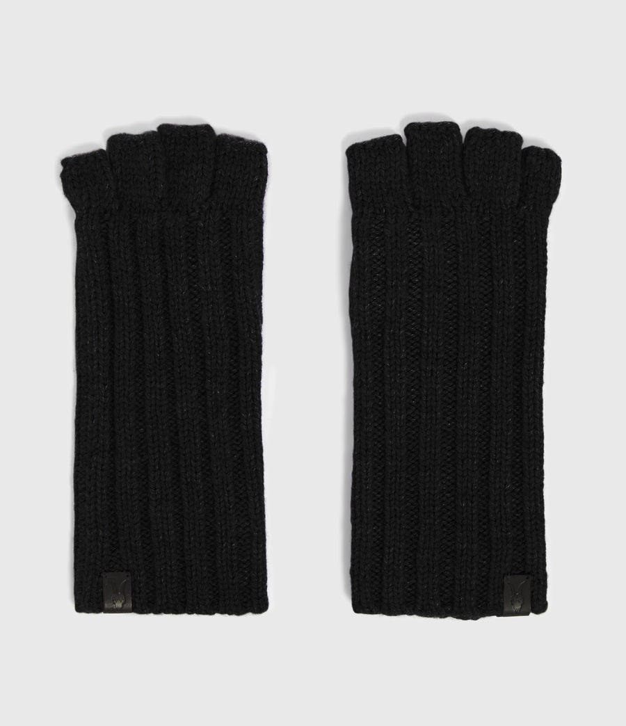 Mens Ribbed Cut Off Finger Gloves (black) - Image 5
