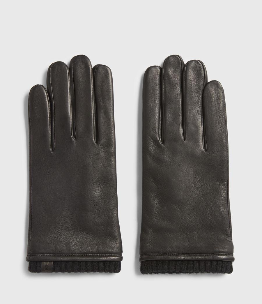 Mens Vester Leather Cuff Gloves (black) - Image 1