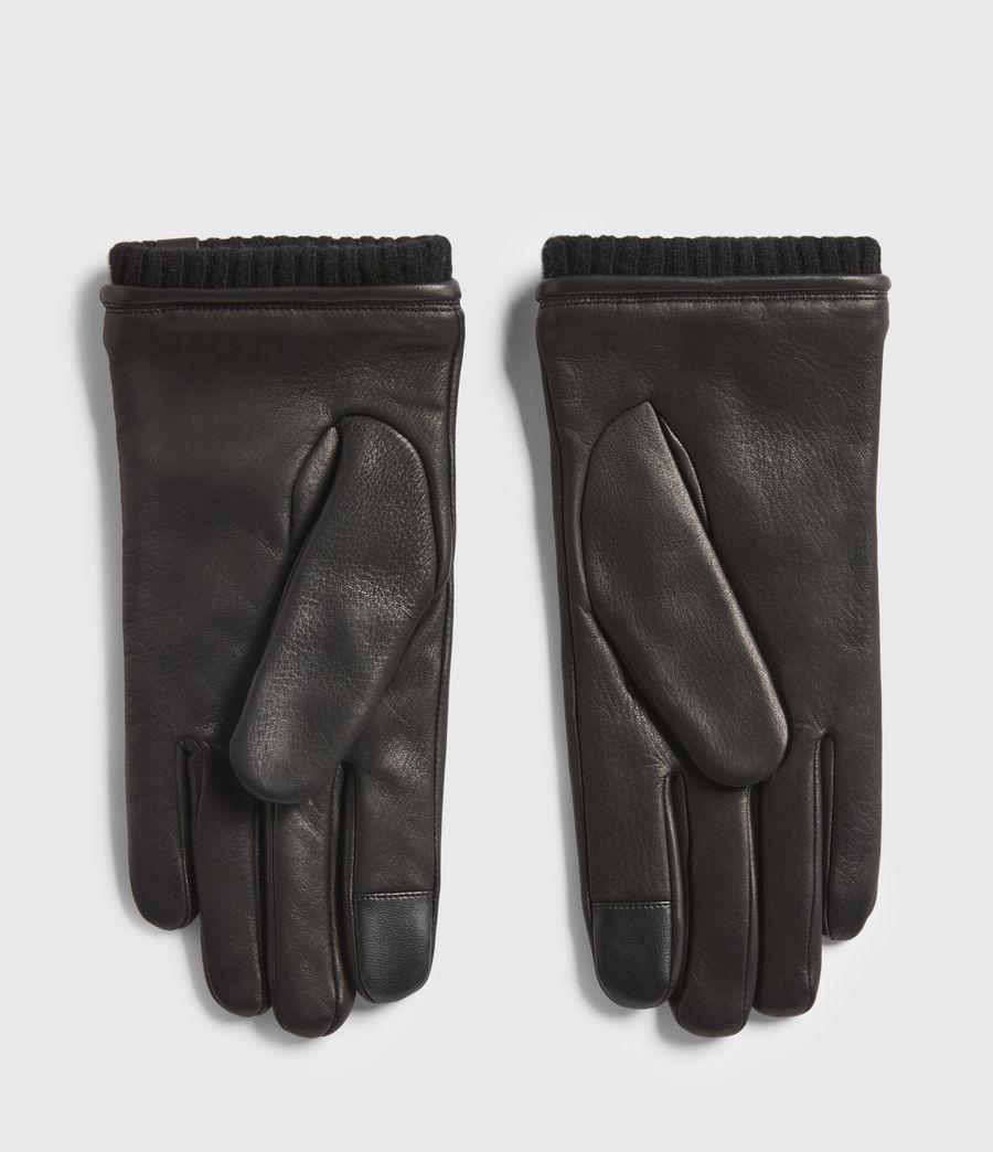 Mens Vester Leather Cuff Gloves (black) - Image 2