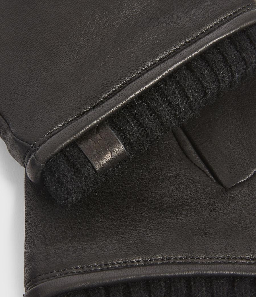 Mens Vester Leather Cuff Gloves (black) - Image 3