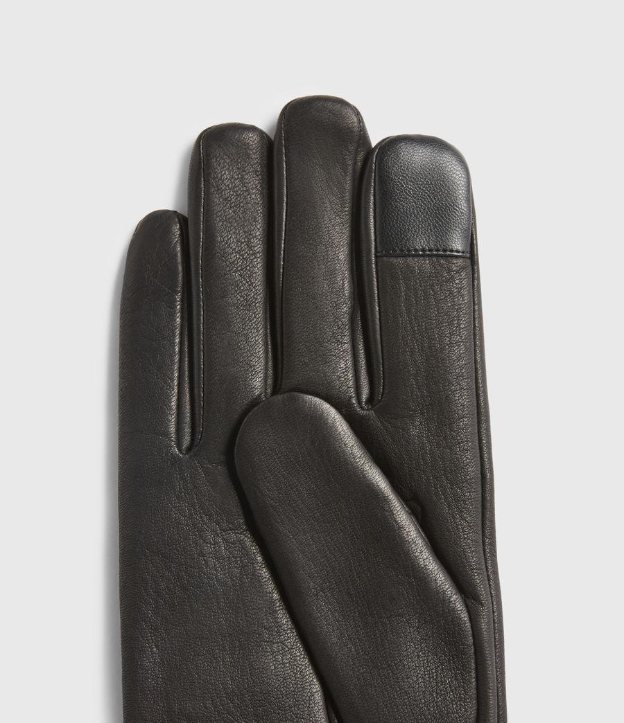 Mens Vester Leather Cuff Gloves (black) - Image 4