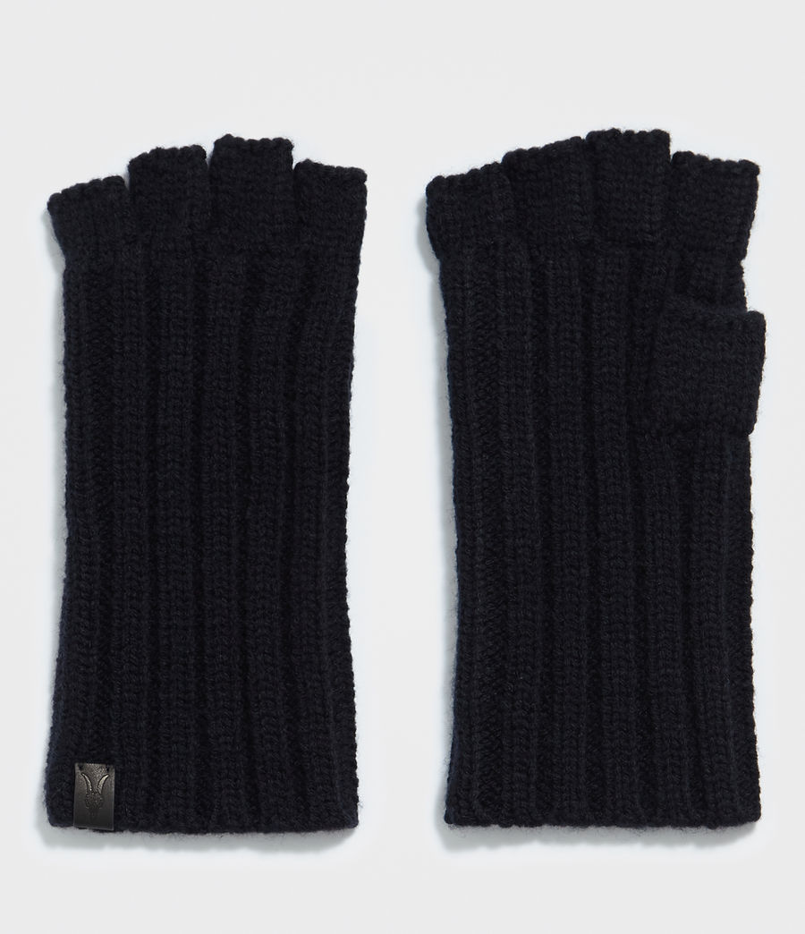Men's Ribbed Cut Off Fingerless Gloves (ink_navy) - Image 1