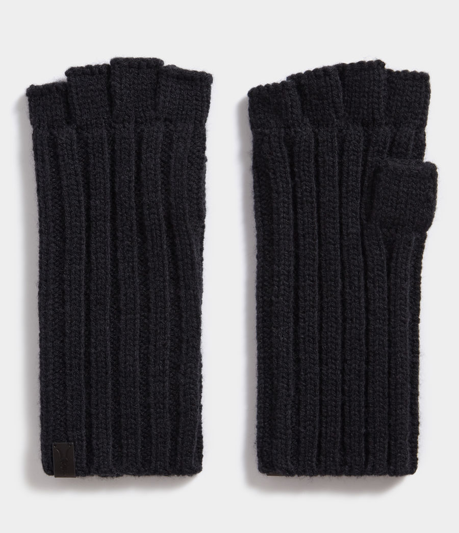 Mens Ribbed Cut Off Fingerless Gloves (cinder_black_marl) - Image 1
