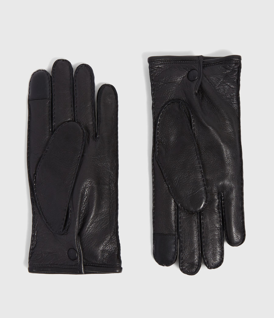 Men's Snap Leather Gloves (black) - Image 1