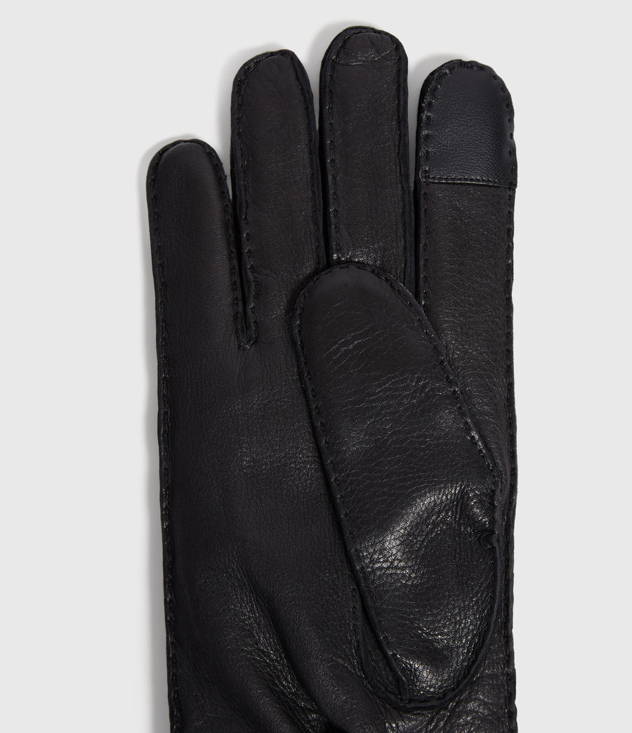 Men's Snap Leather Gloves (black) - Image 3