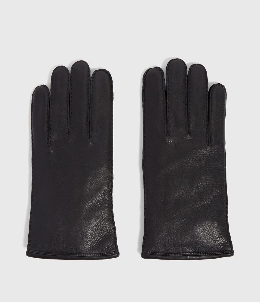 Men's Snap Leather Gloves (black) - Image 4