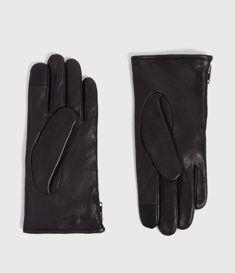 Mens Zipper Leather Touch Gloves (black) - Image 1