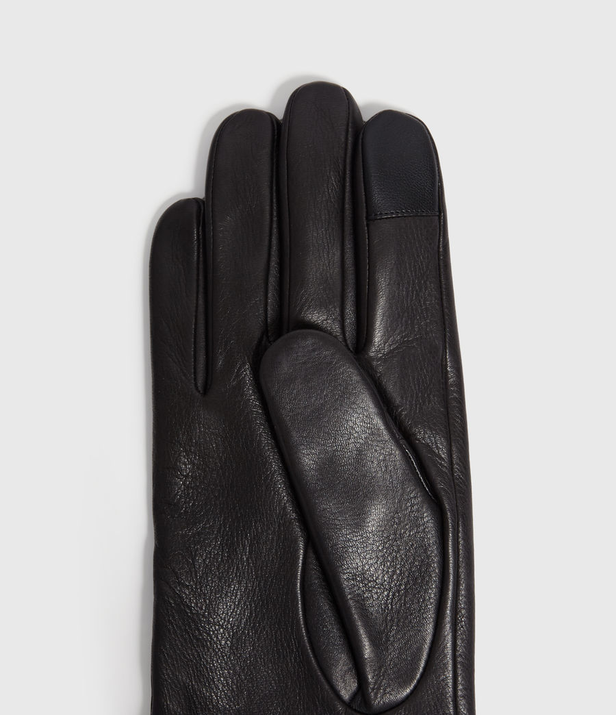 Mens Zipper Leather Touch Gloves (black) - Image 3