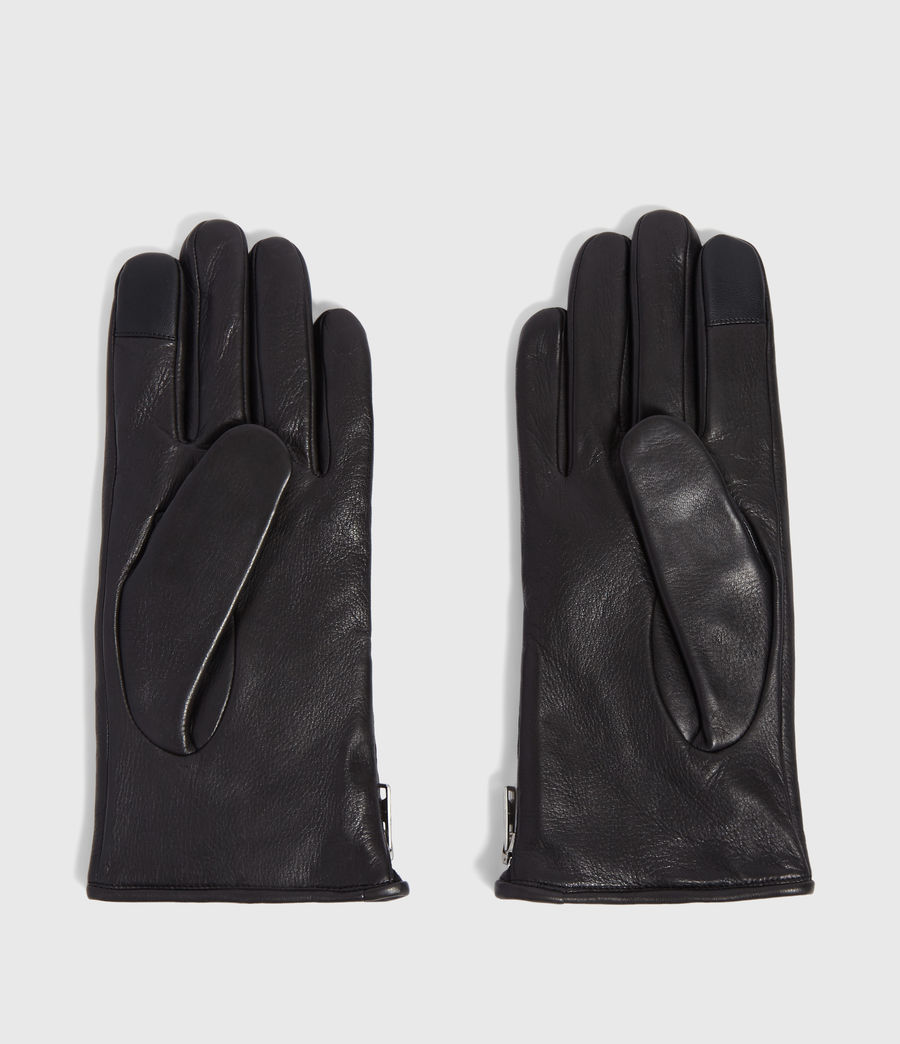 Mens Zipper Leather Touch Gloves (black) - Image 4