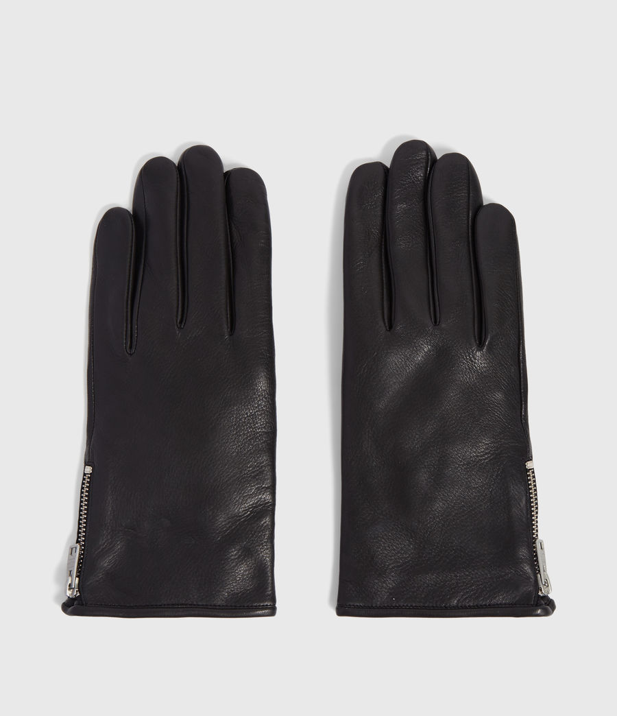 Mens Zipper Leather Touch Gloves (black) - Image 5