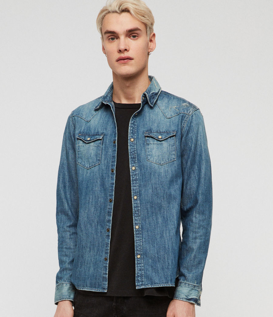 Men's Ikey Denim Shirt (indigo_blue) - Image 2
