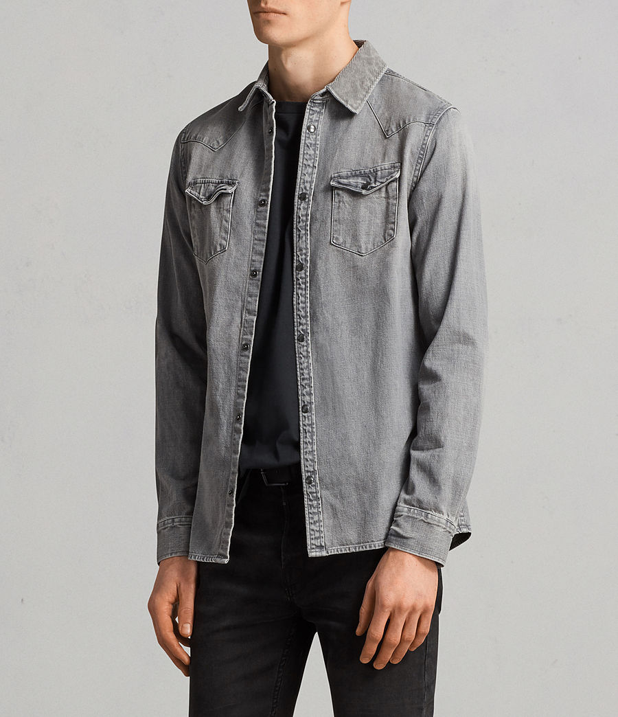 Mens Gamble Denim Shirt (grey) - Image 3