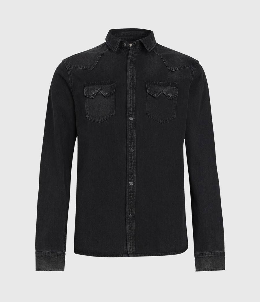 Mens Bassett Denim Shirt (washed_black) - Image 2