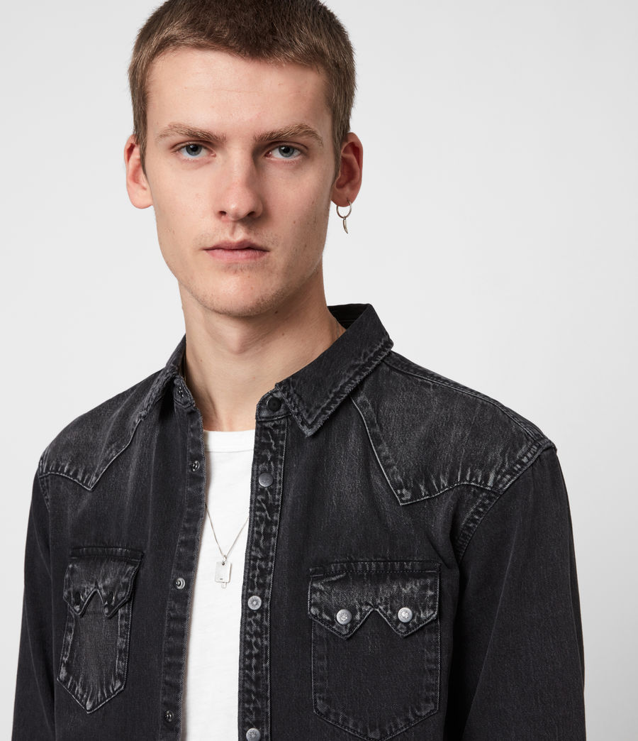 Mens Bassett Denim Shirt (washed_black) - Image 4