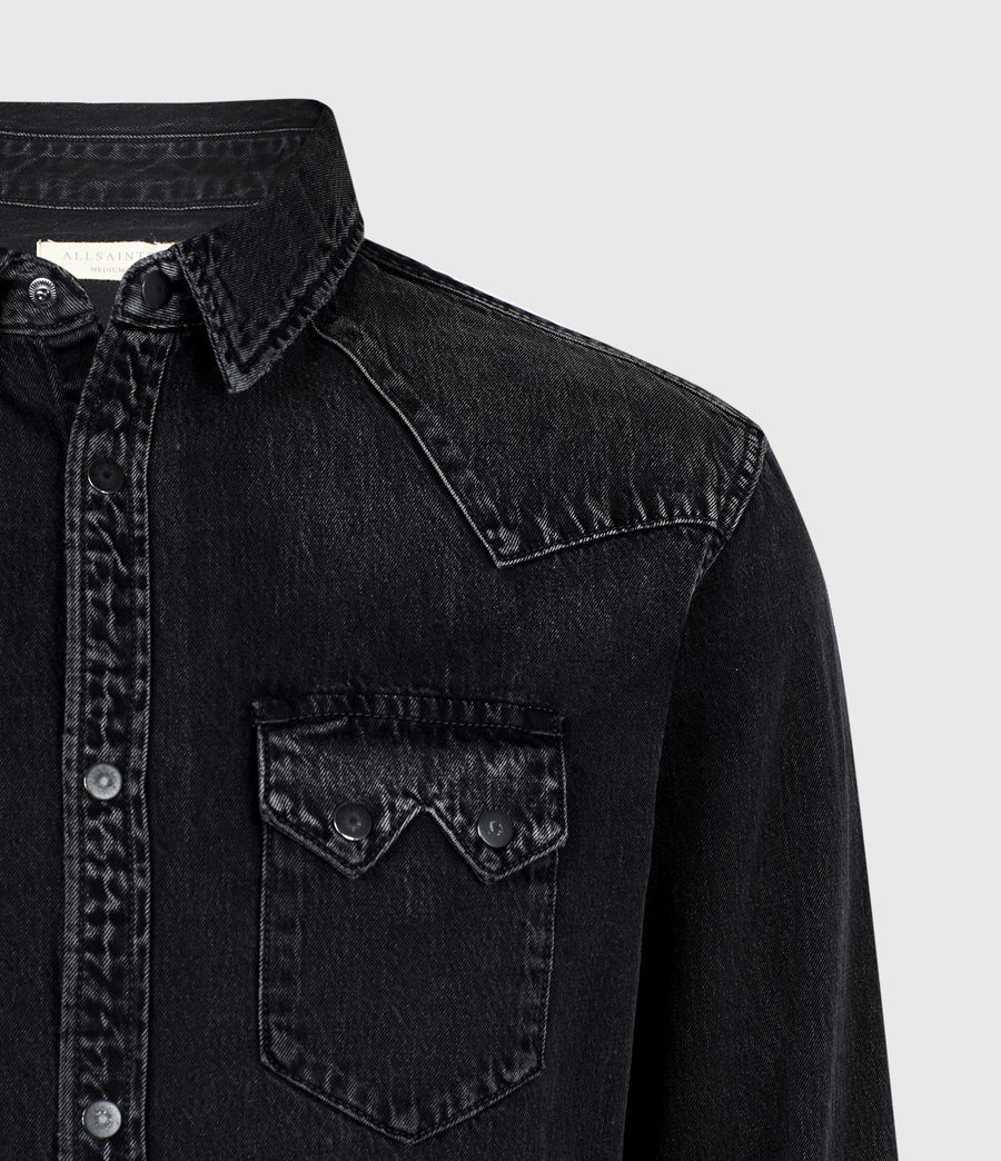 Mens Bassett Denim Shirt (washed_black) - Image 5