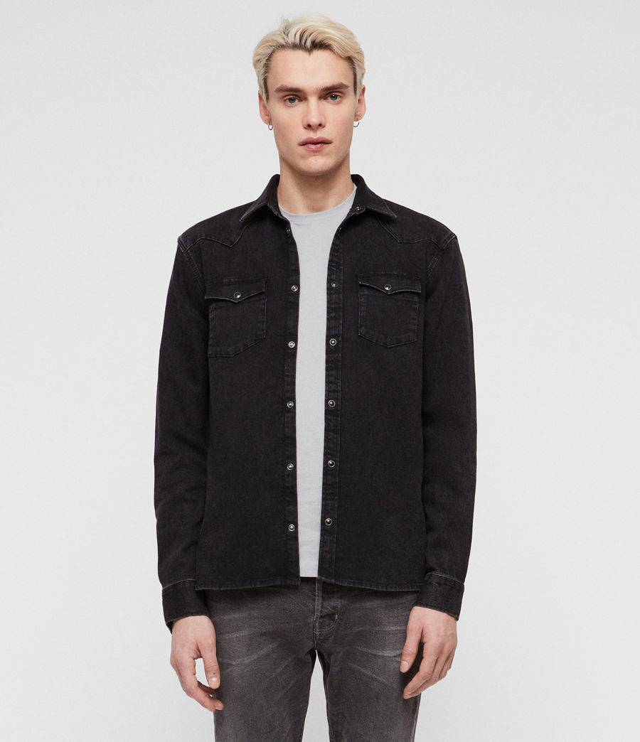 Hombre Based Denim Shirt (washed_black) - Image 1