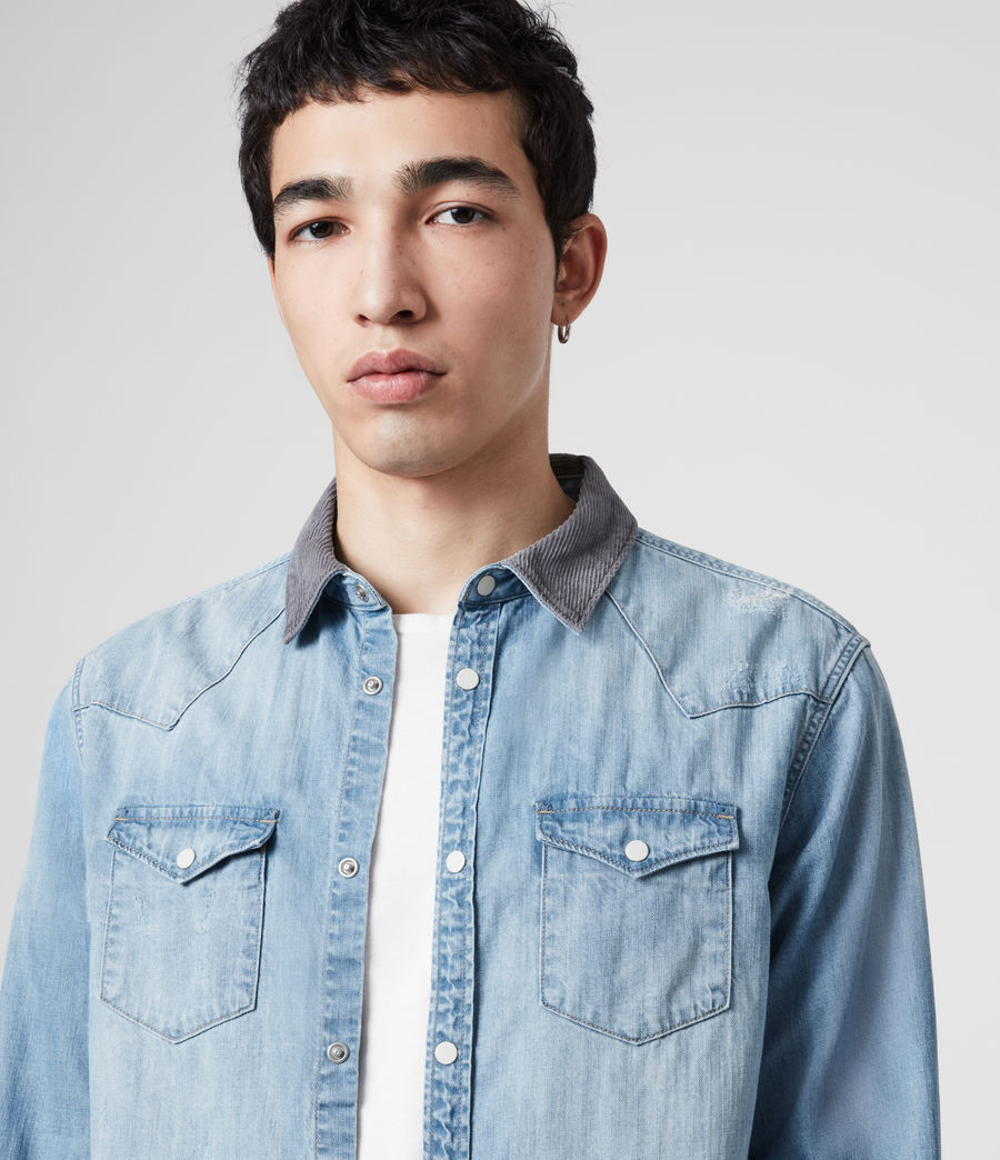 Mens Dearne Denim Shirt (mid_indigo) - Image 2