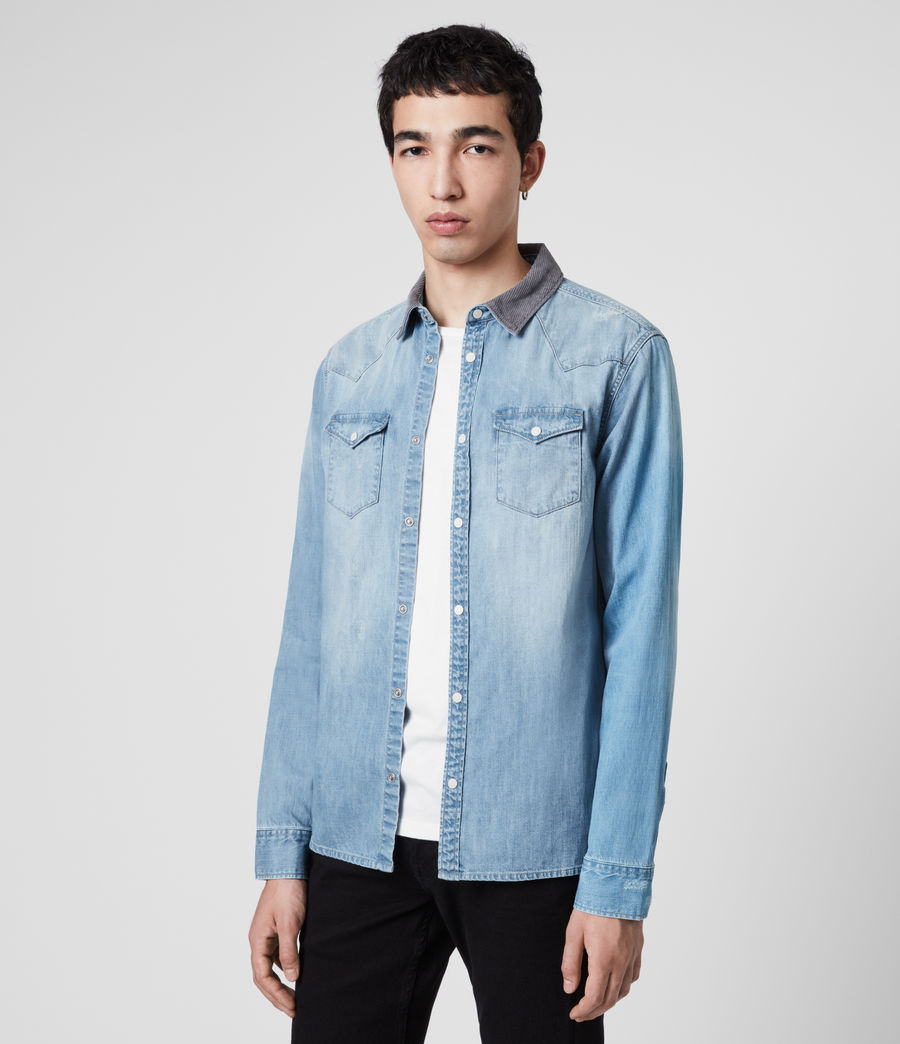 Mens Dearne Denim Shirt (mid_indigo) - Image 4