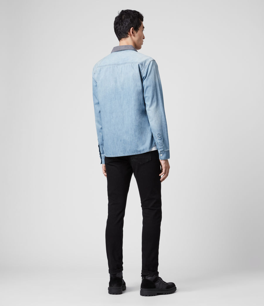 Mens Dearne Denim Shirt (mid_indigo) - Image 5