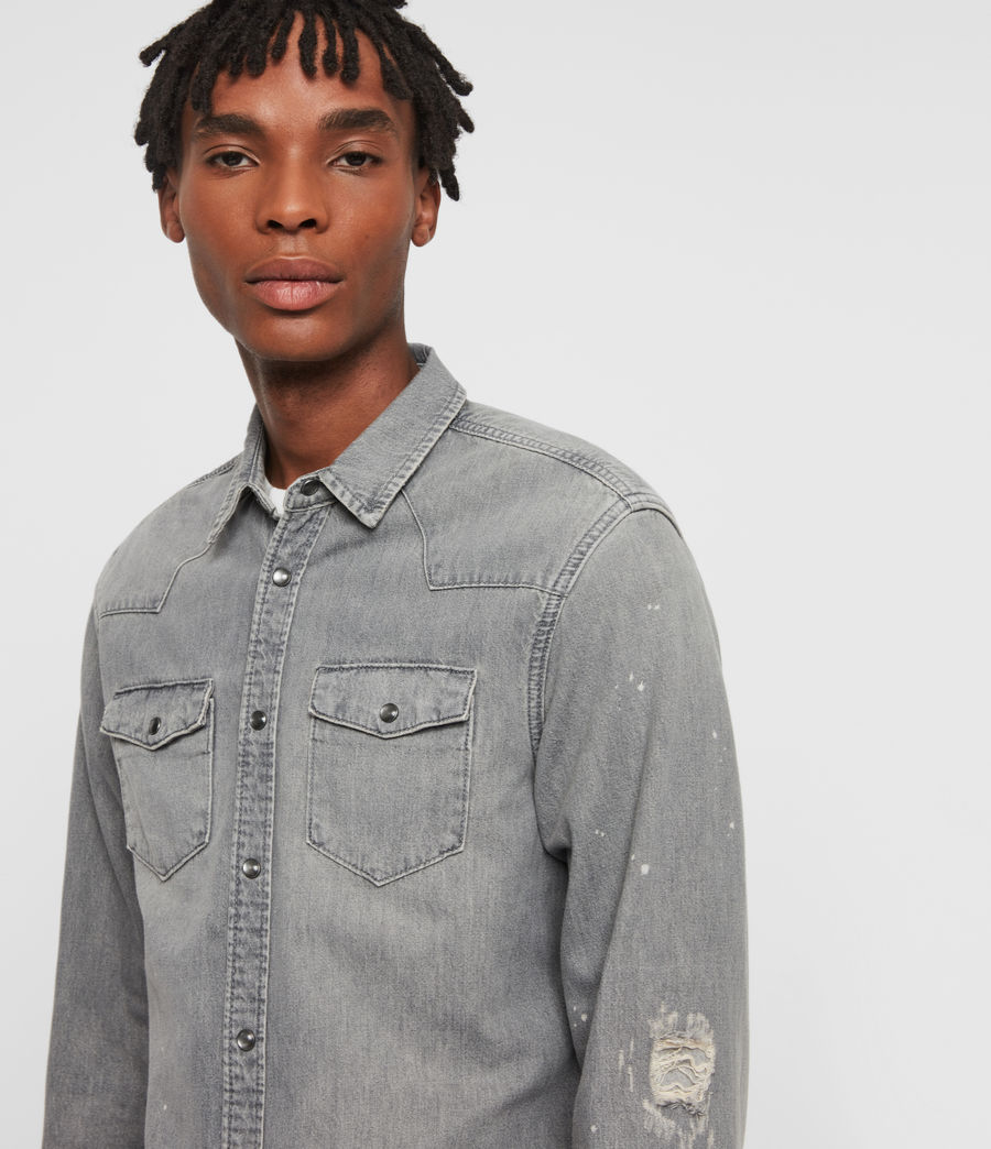Mens Gino Denim Shirt (grey) - Image 1