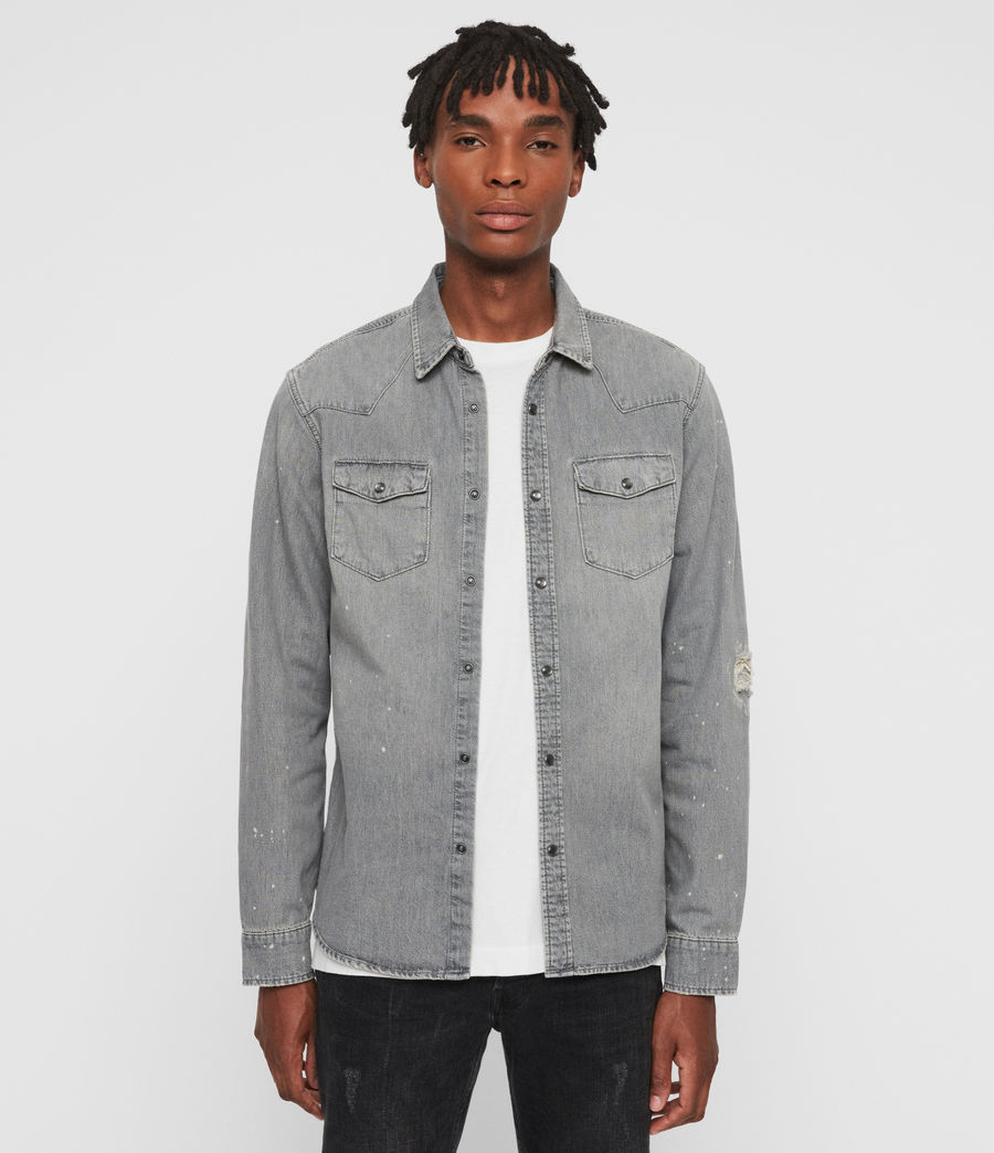 Mens Gino Denim Shirt (grey) - Image 2
