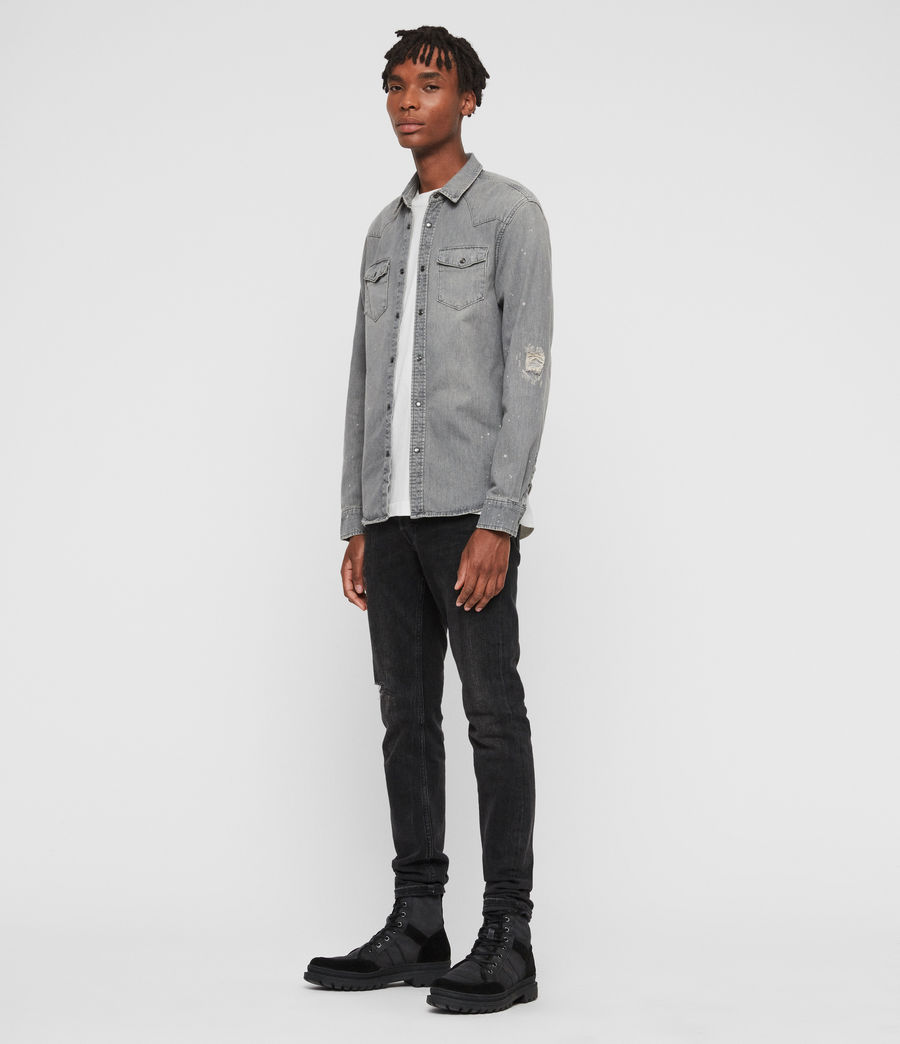Mens Gino Denim Shirt (grey) - Image 3