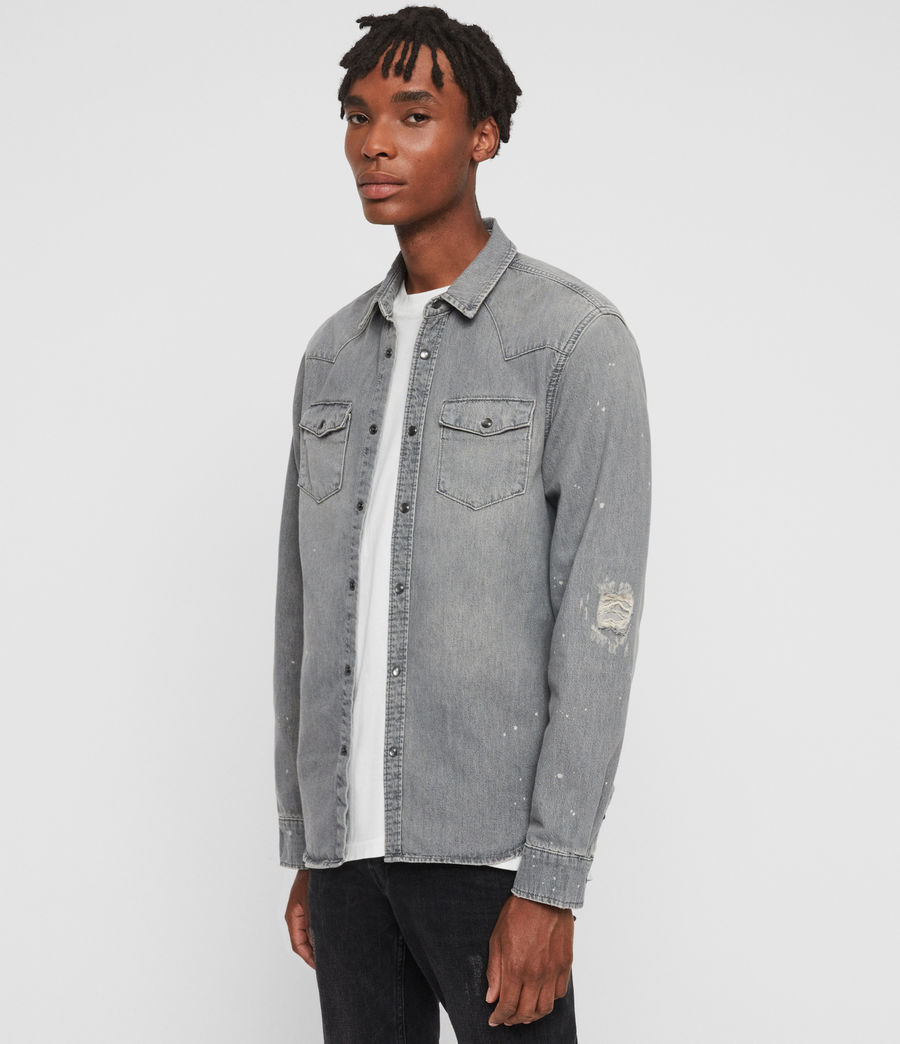 Mens Gino Denim Shirt (grey) - Image 4